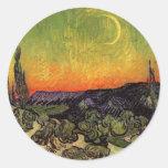 Vincent Van Gogh Moonlit Landscape Classic Round Sticker