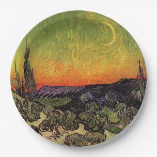 Vincent Van Gogh Moonlit Landscape Paper Plate