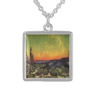 Vincent Van Gogh Moonlit Landscape Square Pendant Necklace