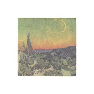 Vincent Van Gogh Moonlit Landscape Stone Magnet