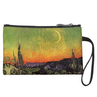 Vincent Van Gogh Moonlit Landscape Suede Wristlet