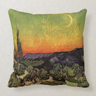 Vincent Van Gogh Moonlit Landscape Throw Pillow