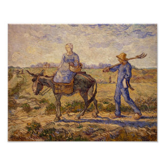 Vincent van Gogh | Morning, going out to work Poster