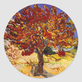 Vincent Van Gogh Mulberry Tree Fine Art Painting Classic Round Sticker
