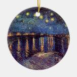 Vincent van Gogh - noche estrellada en Rhone Ornamentos De Navidad