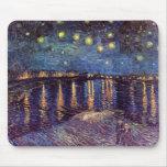 Vincent van Gogh - noche estrellada en Rhone Tapetes De Raton