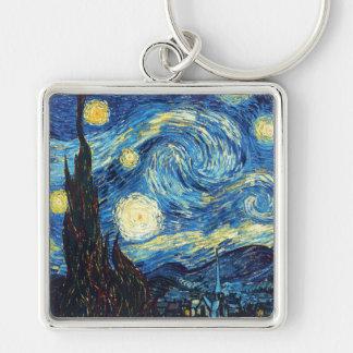 Vincent van Gogh - noche estrellada Llavero Cuadrado Plateado
