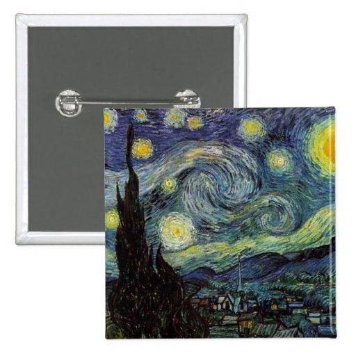 Vincent van Gogh - noche estrellada Pin Cuadrado