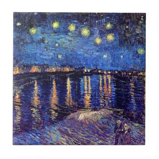 Vincent van Gogh - noche estrellada sobre el Rhone Azulejo Cuadrado Pequeño