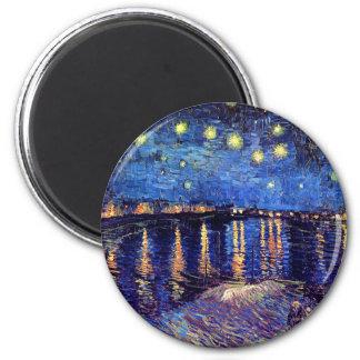 Vincent van Gogh - noche estrellada sobre el Rhone Imán Redondo 5 Cm