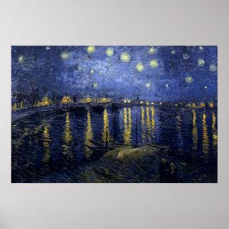 Vincent van Gogh - noche estrellada sobre el Rhone Póster