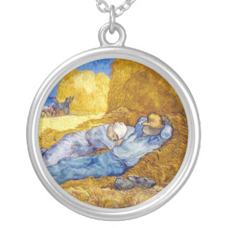 Vincent Van Gogh - Noon Rest From Work - Fine Art Silver Plated Necklace