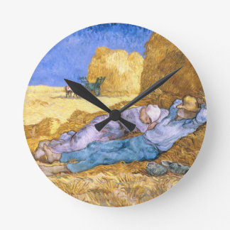 Vincent van Gogh   Noon, The Siesta, after Millet Round Clock