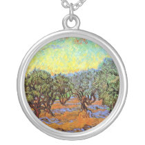 Vincent Van Gogh - Olive Grove with Orange Sky Silver Plated Necklace
