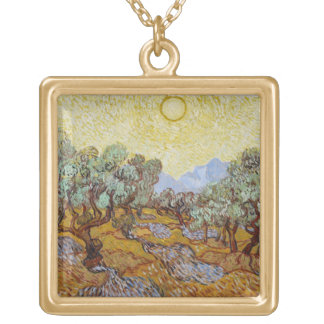 Vincent van Gogh | Olive Trees, 1889 Gold Plated Necklace