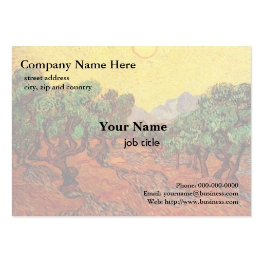 Vincent van Gogh,Olive Trees with Yellow  Sky and Large Business Cards (Pack Of 100)