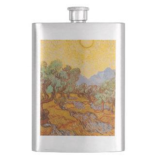Vincent Van Gogh Olive Trees Yellow Sky Sun Art Flask