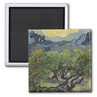 Vincent van Gogh - paisaje con los olivos Imán Cuadrado