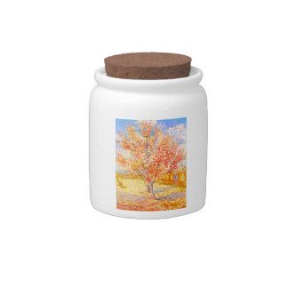 Vincent Van Gogh Peach Tree in Blossom Vintage Art Candy Jar