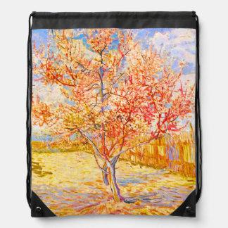 Vincent Van Gogh Peach Tree in Blossom Vintage Art Drawstring Backpack