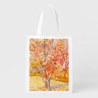 Vincent Van Gogh Peach Tree in Blossom Vintage Art Market Tote