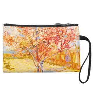Vincent Van Gogh Peach Tree in Blossom Vintage Art Suede Wristlet