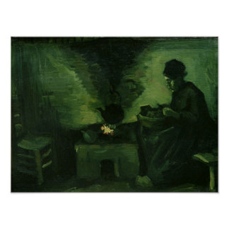 Vincent van Gogh | Peasant Woman by the Hearth Poster