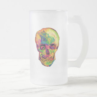 Vincent Van Gogh - Pop Art Halloween Skull Frosted Glass Beer Mug