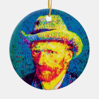 Vincent Van Gogh - Pop Art Self Portrait With Hat Ceramic Ornament