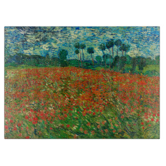Vincent Van Gogh Poppy Field Floral Vintage Art Cutting Board