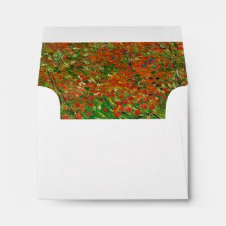 Vincent Van Gogh Poppy Field Floral Vintage Art Envelopes