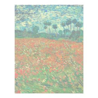 Vincent Van Gogh Poppy Field Floral Vintage Art Letterhead