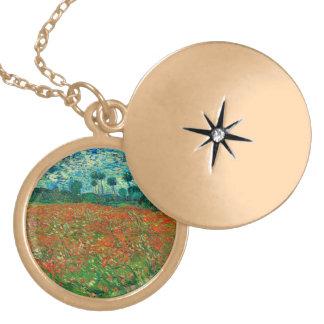 Vincent Van Gogh Poppy Field Floral Vintage Art Locket Necklace