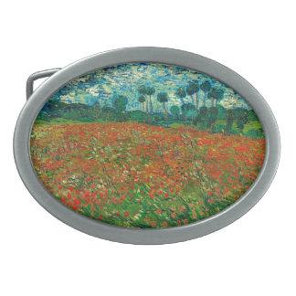 Vincent Van Gogh Poppy Field Floral Vintage Art Oval Belt Buckle