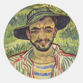 Vincent van Gogh - retrato de un campesino joven Pegatina Redonda
