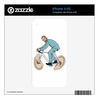 Vincent Van Gogh Riding Bike With Severed Left Ear iPhone 4 Decals