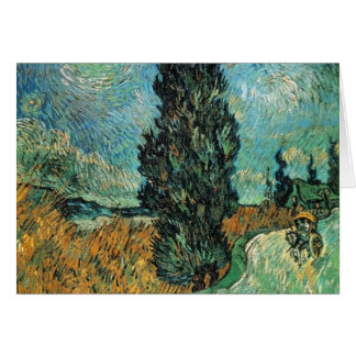 vincent van gogh - road with cypress and star card