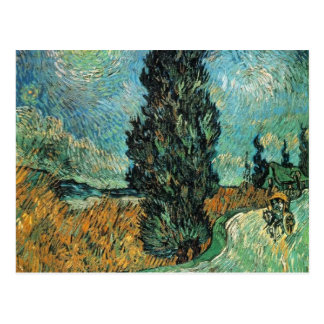 vincent van gogh - road with cypress and star postcard