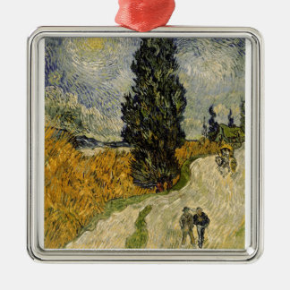 Vincent van Gogh | Road with Cypresses, 1890 Metal Ornament