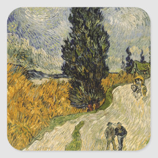 Vincent van Gogh | Road with Cypresses, 1890 Square Sticker