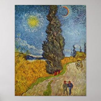 Vincent van Gogh - Road with Cypresses Poster