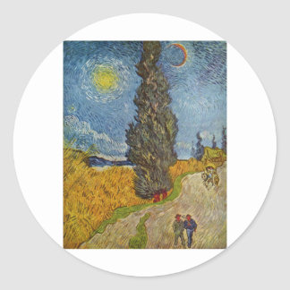 Vincent van Gogh - Road with Cypresses Round Stickers