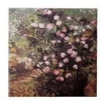 Vincent van Gogh - Rosebush en bella arte del flor Azulejo Cuadrado Pequeño