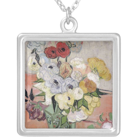 Vincent van Gogh   Roses and Anemones, 1890 Silver Plated Necklace