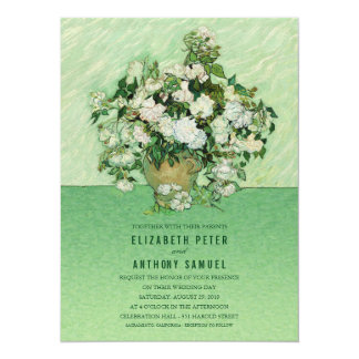 Vincent van Gogh Roses Painting 5.5x7.5 Wedding Card