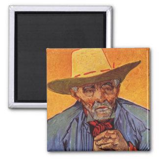 Vincent Van Gogh - Self Portrait Elderly 2 Inch Square Magnet