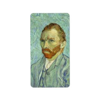 Vincent Van Gogh Self Portrait Fine Art Painting Label