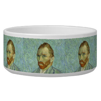 Vincent Van Gogh Self Portrait Fine Art Painting Dog Water Bowls