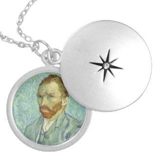 Vincent Van Gogh Self Portrait Fine Art Painting Round Locket Necklace