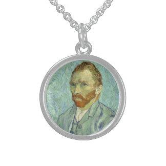 Vincent Van Gogh Self Portrait Fine Art Painting Round Pendant Necklace
